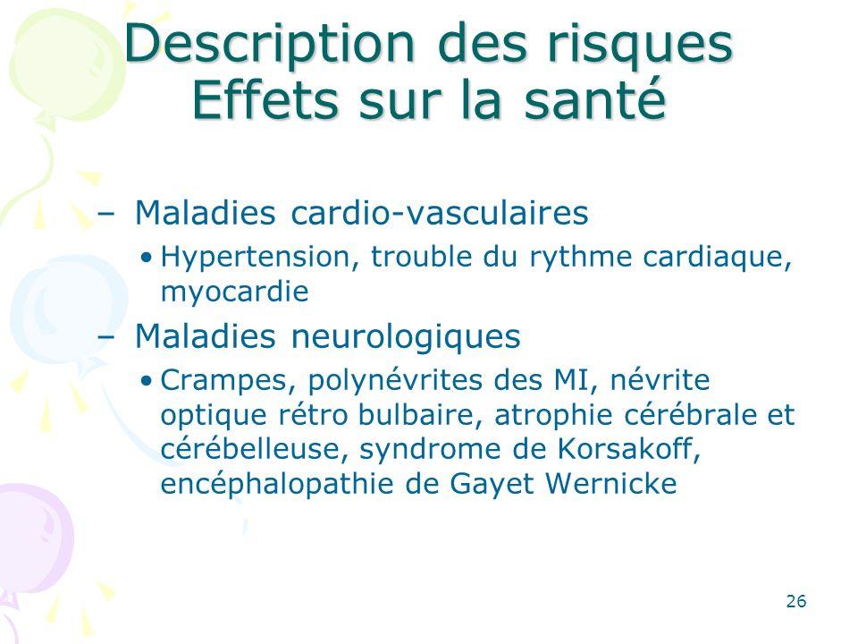 26 Description des risques Effets sur la santé – Maladies cardio-vasculaires Hypertension, trouble du rythme cardiaque, myocardie – Maladies neurologi