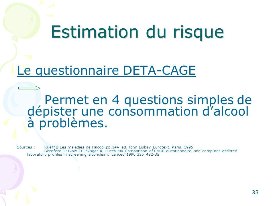 33 Estimation du risque Le questionnaire DETA-CAGE Permet en 4 questions simplesde dépister une consommation dalcool à problèmes. Sources : Rueff B.Le