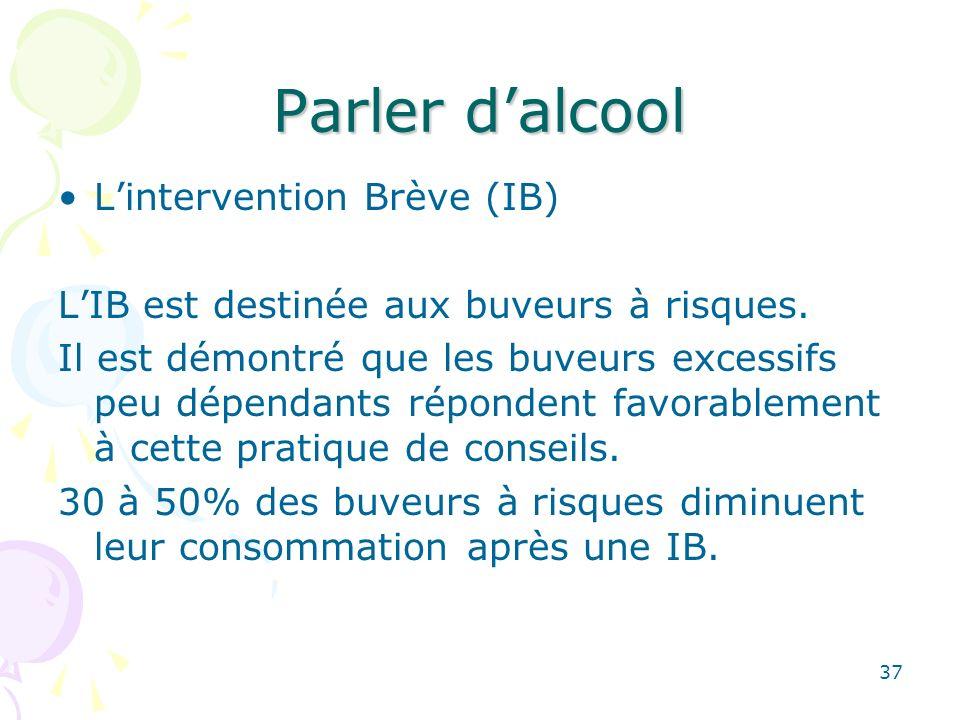 37 Parler dalcool Lintervention Brève (IB) LIB est destinée aux buveurs à risques. Il est démontré que les buveurs excessifs peu dépendants répondent