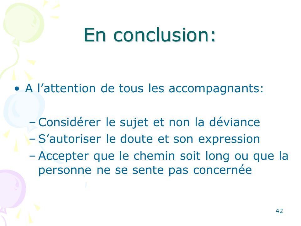42 En conclusion: A lattention de tous les accompagnants: –Considérer le sujet et non la déviance –Sautoriser le doute et son expression –Accepter que