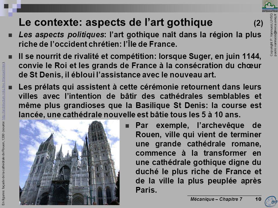 Copyright: P. Vannucci, UVSQ paolo.vannucci@meca.uvsq.fr ________________________________ Mécanique – Chapitre 7 10 Le contexte: aspects de lart gothi