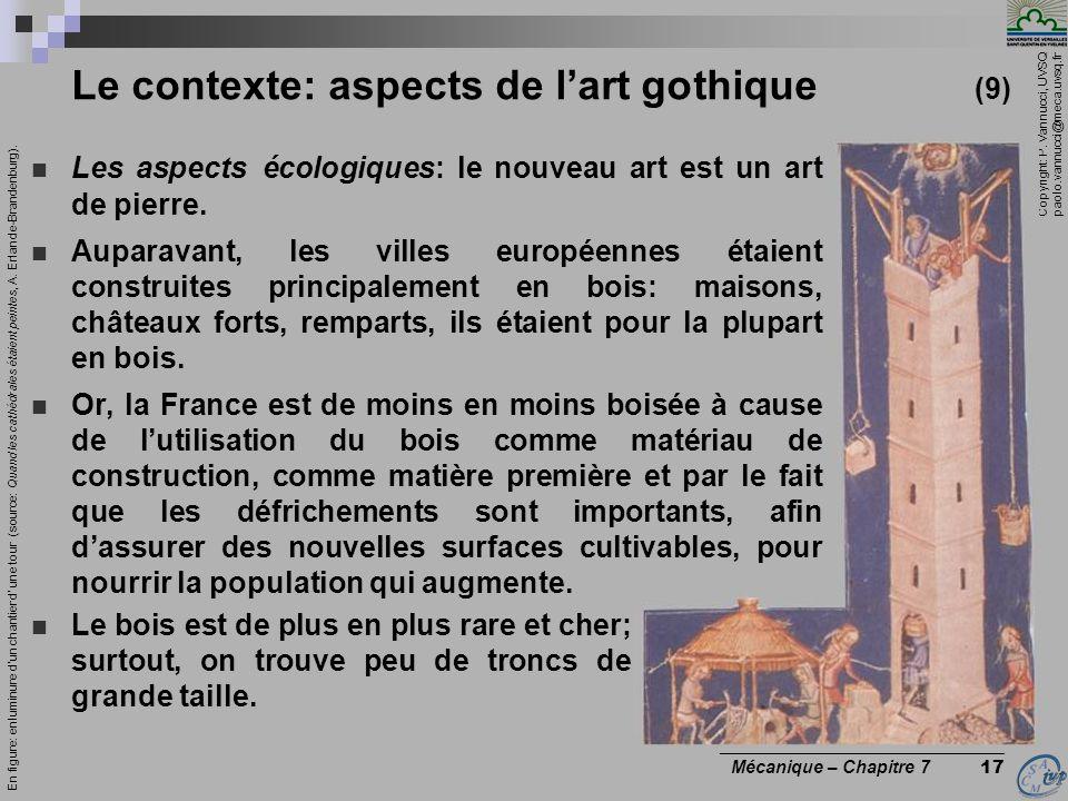 Copyright: P. Vannucci, UVSQ paolo.vannucci@meca.uvsq.fr ________________________________ Mécanique – Chapitre 7 17 Le contexte: aspects de lart gothi