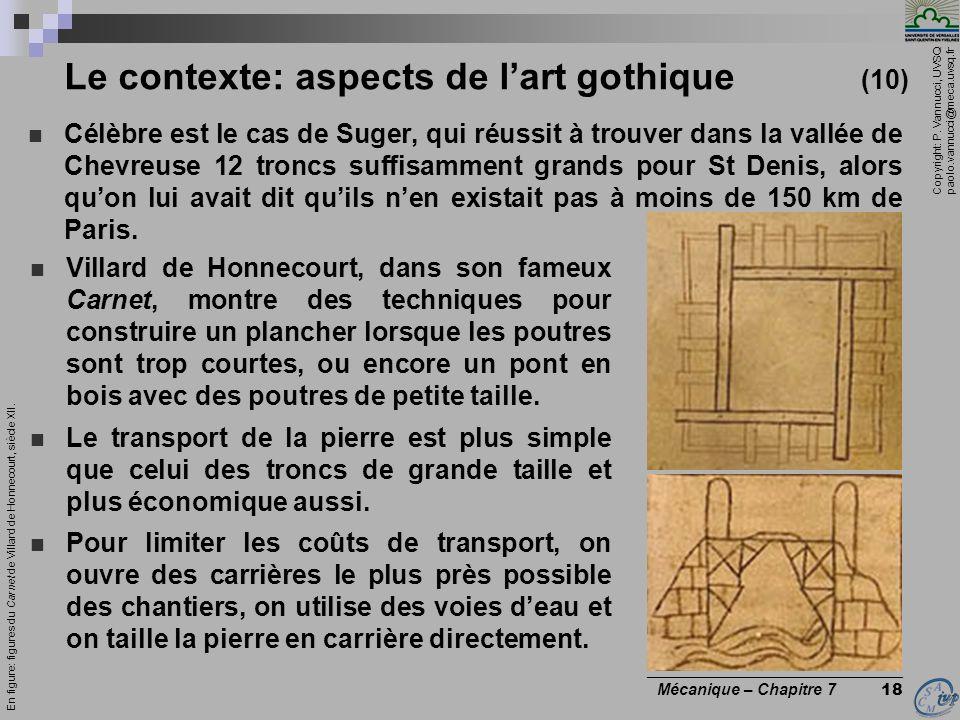 Copyright: P. Vannucci, UVSQ paolo.vannucci@meca.uvsq.fr ________________________________ Mécanique – Chapitre 7 18 Le contexte: aspects de lart gothi