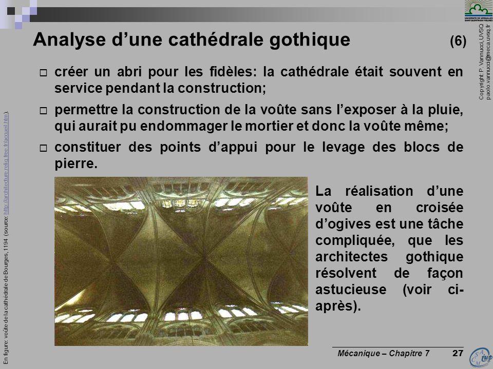 Copyright: P. Vannucci, UVSQ paolo.vannucci@meca.uvsq.fr ________________________________ Mécanique – Chapitre 7 27 Analyse dune cathédrale gothique (