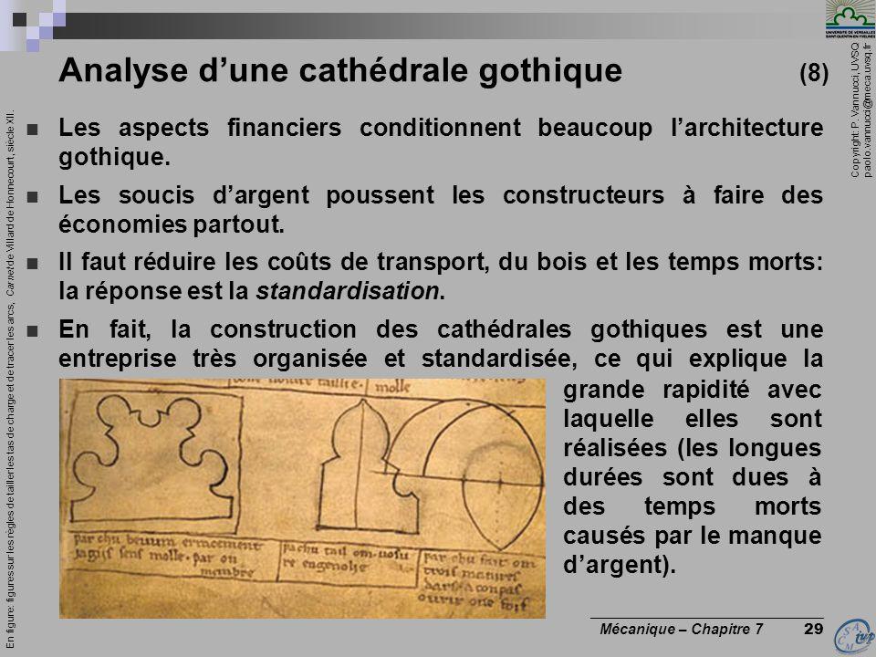 Copyright: P. Vannucci, UVSQ paolo.vannucci@meca.uvsq.fr ________________________________ Mécanique – Chapitre 7 29 Analyse dune cathédrale gothique (