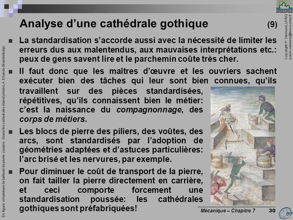 Copyright: P. Vannucci, UVSQ paolo.vannucci@meca.uvsq.fr ________________________________ Mécanique – Chapitre 7 30 Analyse dune cathédrale gothique (