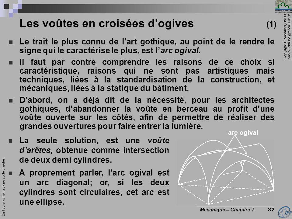 Copyright: P. Vannucci, UVSQ paolo.vannucci@meca.uvsq.fr ________________________________ Mécanique – Chapitre 7 32 Les voûtes en croisées dogives (1)