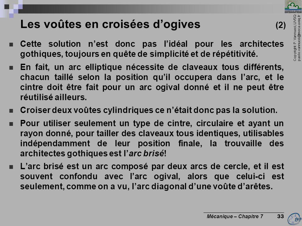 Copyright: P. Vannucci, UVSQ paolo.vannucci@meca.uvsq.fr ________________________________ Mécanique – Chapitre 7 33 Les voûtes en croisées dogives (2)