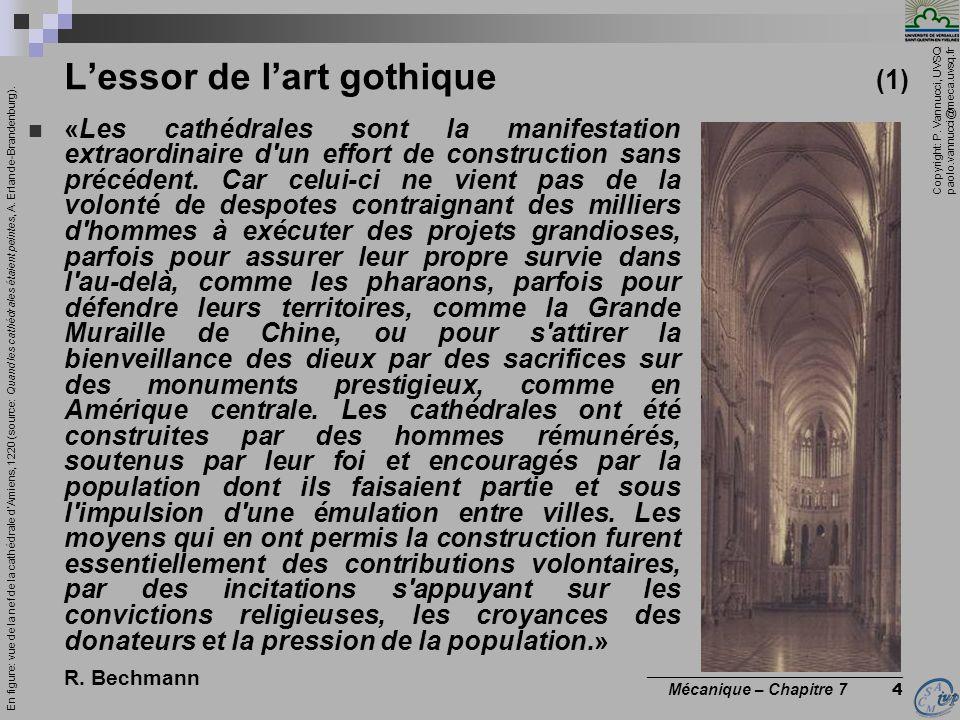 Copyright: P. Vannucci, UVSQ paolo.vannucci@meca.uvsq.fr ________________________________ Mécanique – Chapitre 7 4 Lessor de lart gothique (1) «Les ca