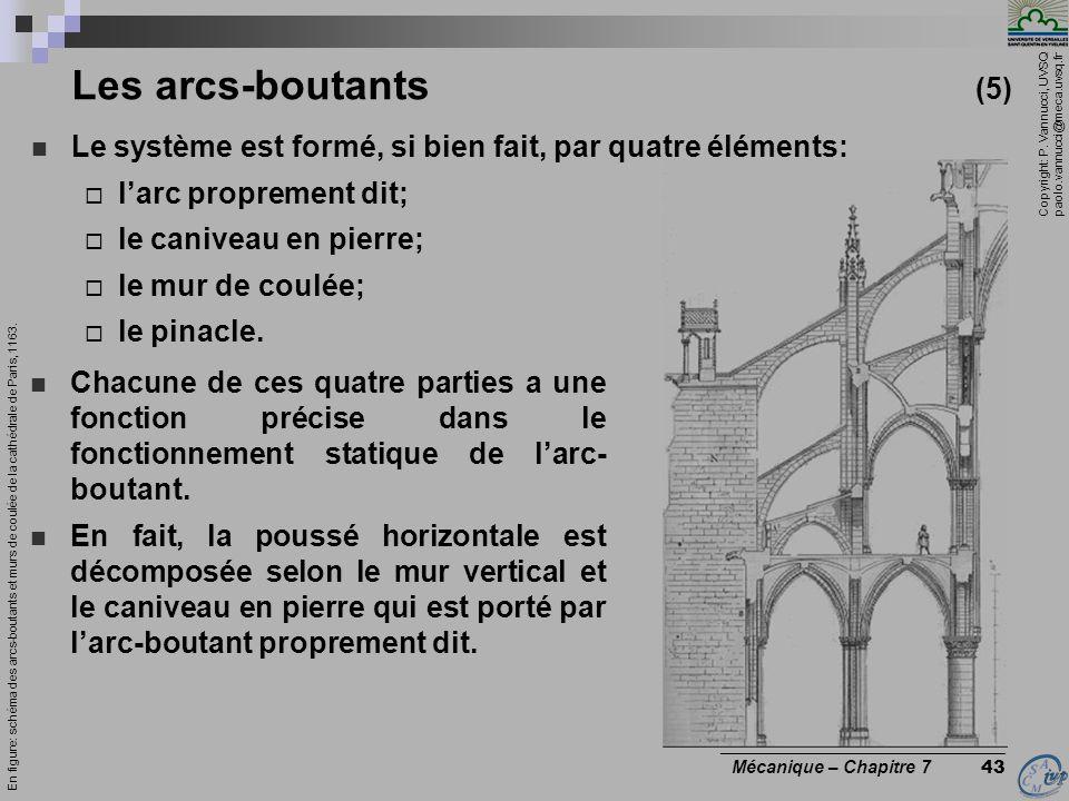Copyright: P. Vannucci, UVSQ paolo.vannucci@meca.uvsq.fr ________________________________ Mécanique – Chapitre 7 43 Les arcs-boutants (5) Le système e