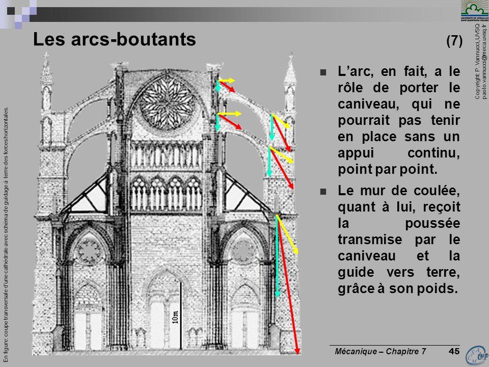 Copyright: P. Vannucci, UVSQ paolo.vannucci@meca.uvsq.fr ________________________________ Mécanique – Chapitre 7 45 Les arcs-boutants (7) Larc, en fai