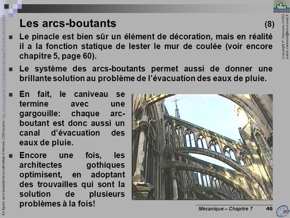 Copyright: P. Vannucci, UVSQ paolo.vannucci@meca.uvsq.fr ________________________________ Mécanique – Chapitre 7 46 Les arcs-boutants (8) Le pinacle e