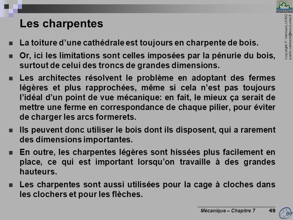 Copyright: P. Vannucci, UVSQ paolo.vannucci@meca.uvsq.fr ________________________________ Mécanique – Chapitre 7 49 Les charpentes La toiture dune cat