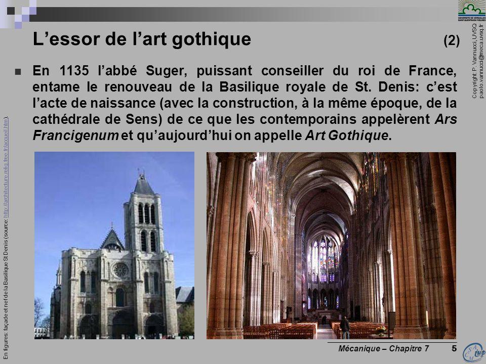Copyright: P. Vannucci, UVSQ paolo.vannucci@meca.uvsq.fr ________________________________ Mécanique – Chapitre 7 5 Lessor de lart gothique (2) En 1135