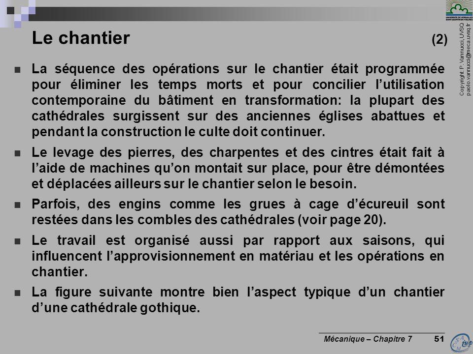 Copyright: P. Vannucci, UVSQ paolo.vannucci@meca.uvsq.fr ________________________________ Mécanique – Chapitre 7 51 Le chantier (2) La séquence des op