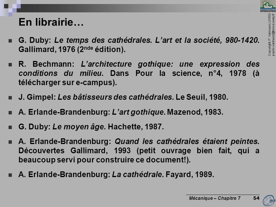Copyright: P. Vannucci, UVSQ paolo.vannucci@meca.uvsq.fr ________________________________ Mécanique – Chapitre 7 54 En librairie… G. Duby: Le temps de