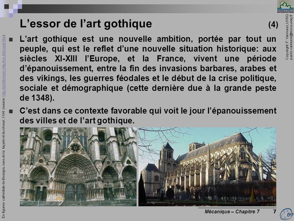 Copyright: P. Vannucci, UVSQ paolo.vannucci@meca.uvsq.fr ________________________________ Mécanique – Chapitre 7 7 Lessor de lart gothique (4) Lart go