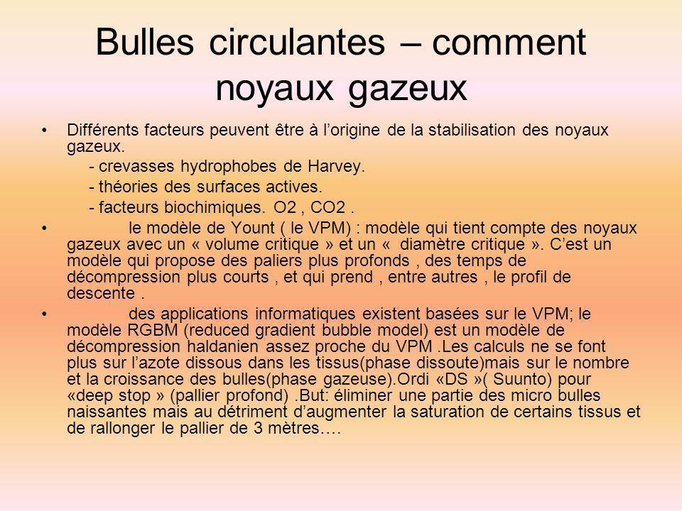 Bulles circulantes – comment noyaux gazeux Différents facteurs peuvent être à lorigine de la stabilisation des noyaux gazeux. - crevasses hydrophobes
