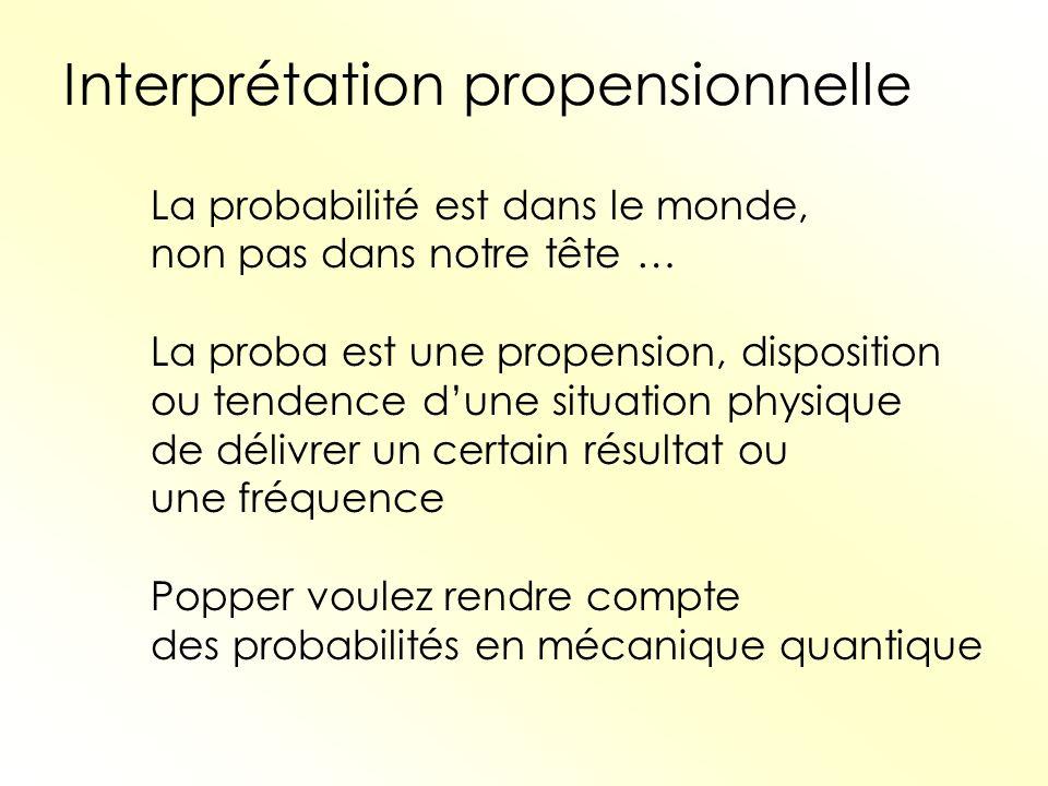 Interprétation propensionnelle La probabilité est dans le monde, non pas dans notre tête … La proba est une propension, disposition ou tendence dune s