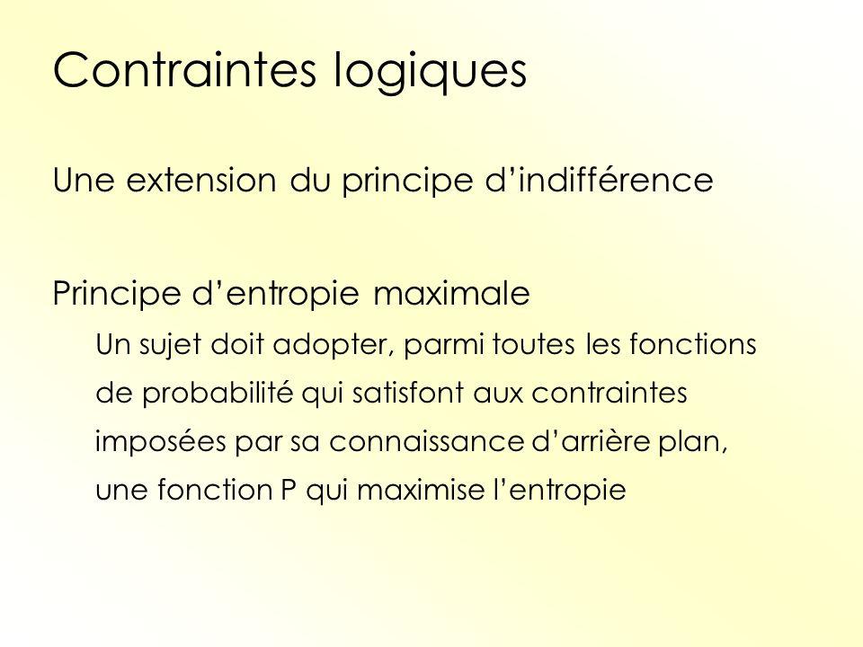 Contraintes logiques Une extension du principe dindifférence Principe dentropie maximale Un sujet doit adopter, parmi toutes les fonctions de probabil