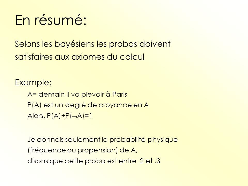 En résumé: Selons les bayésiens les probas doivent satisfaires aux axiomes du calcul Example: A= demain il va plevoir à Paris P(A) est un degré de cro