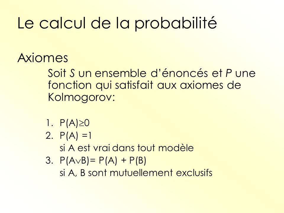 Le calcul de la probabilité Axiomes Soit S un ensemble dénoncés et P une fonction qui satisfait aux axiomes de Kolmogorov: 1.P(A) 0 2.P(A) =1 si A est