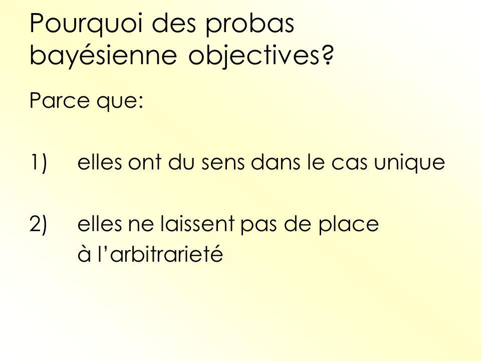 Pourquoi des probas bayésienne objectives? Parce que: 1)elles ont du sens dans le cas unique 2)elles ne laissent pas de place à larbitrarieté