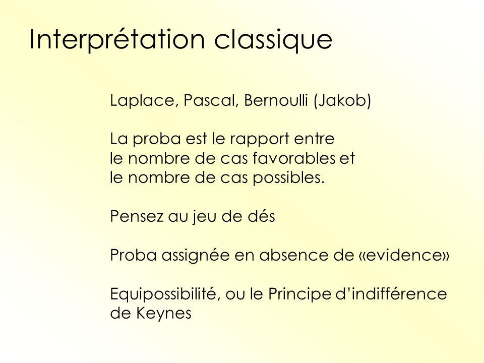 Interprétation classique Laplace, Pascal, Bernoulli (Jakob) La proba est le rapport entre le nombre de cas favorables et le nombre de cas possibles. P