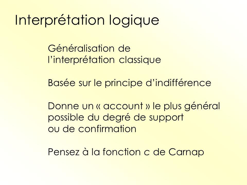 Interprétation logique Généralisation de linterprétation classique Basée sur le principe dindifférence Donne un « account » le plus général possible d