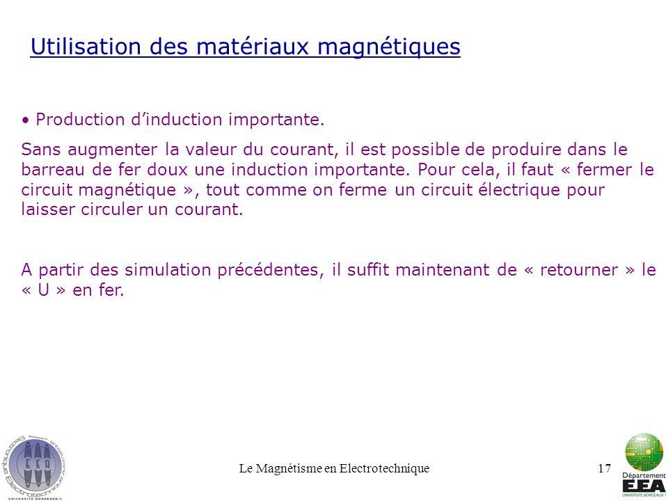 Le Magnétisme en Electrotechnique17 Utilisation des matériaux magnétiques Production dinduction importante. Sans augmenter la valeur du courant, il es