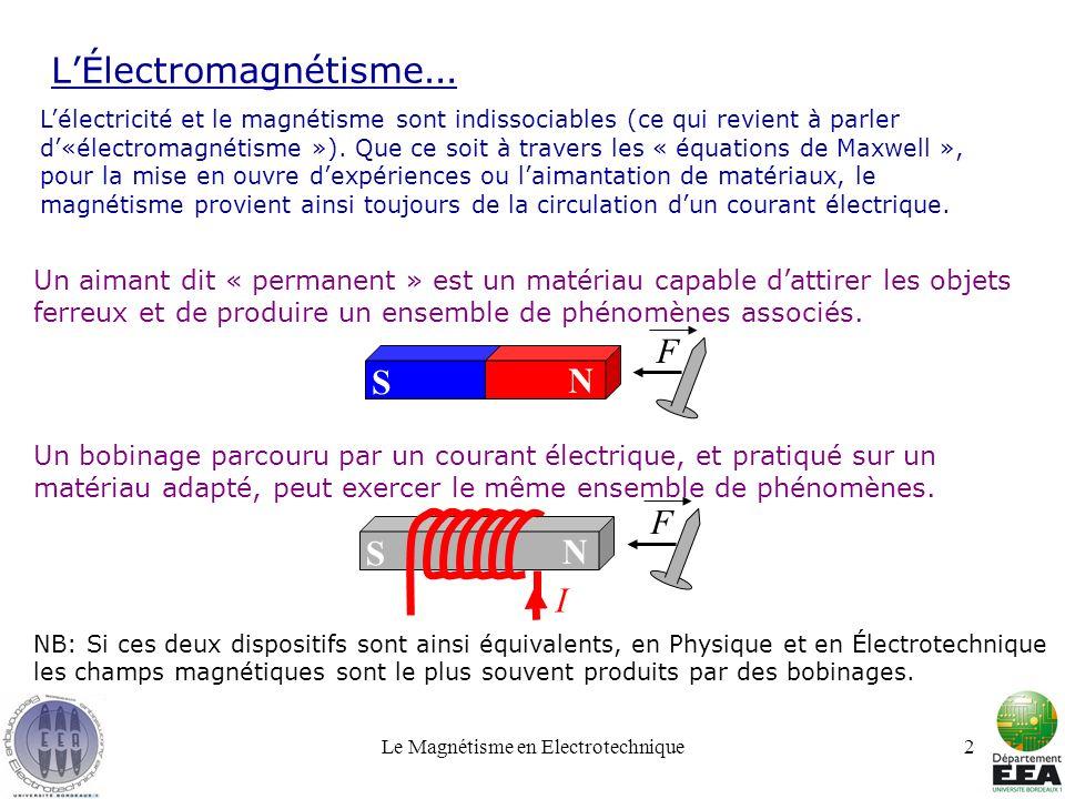 Le Magnétisme en Electrotechnique2 LÉlectromagnétisme … Lélectricité et le magnétisme sont indissociables (ce qui revient à parler d«électromagnétisme