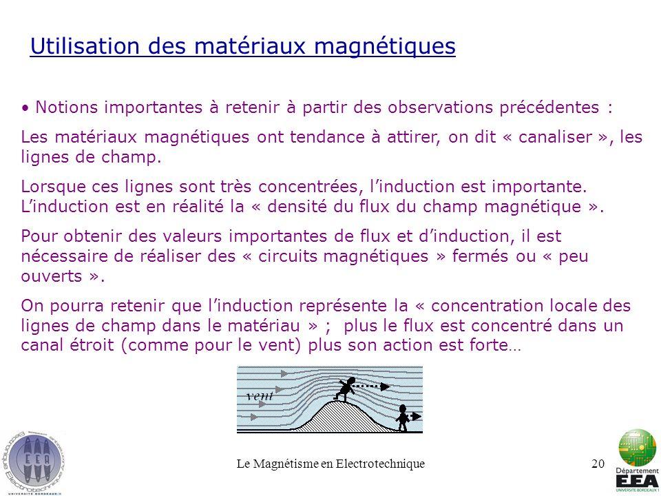 Le Magnétisme en Electrotechnique20 Utilisation des matériaux magnétiques Notions importantes à retenir à partir des observations précédentes : Les ma