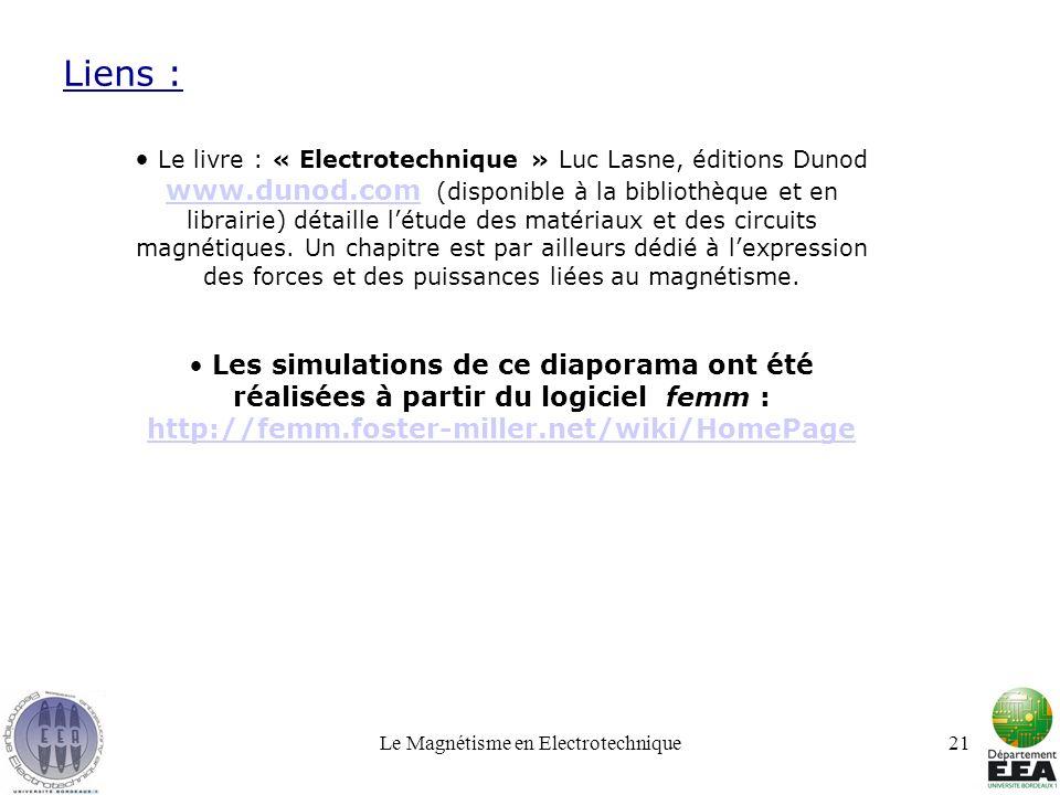 Le Magnétisme en Electrotechnique21 Liens : Le livre : « Electrotechnique » Luc Lasne, éditions Dunod www.dunod.com (disponible à la bibliothèque et e