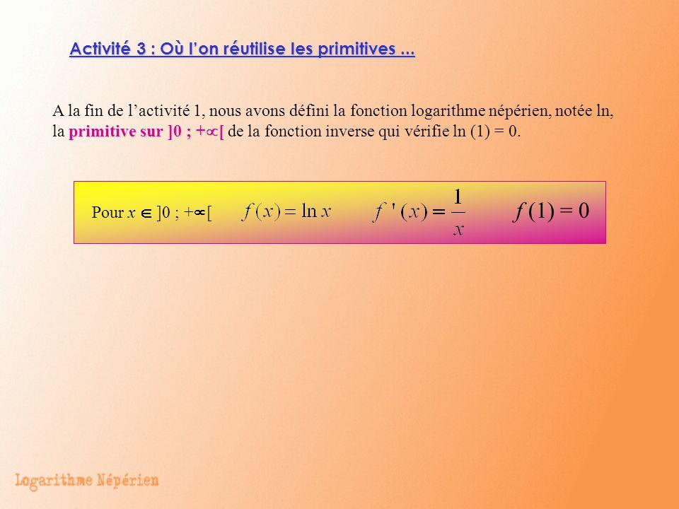 Activité 3 : Où lon réutilise les primitives... A la fin de lactivité 1, nous avons défini la fonction logarithme népérien, notée ln, la primitive sur