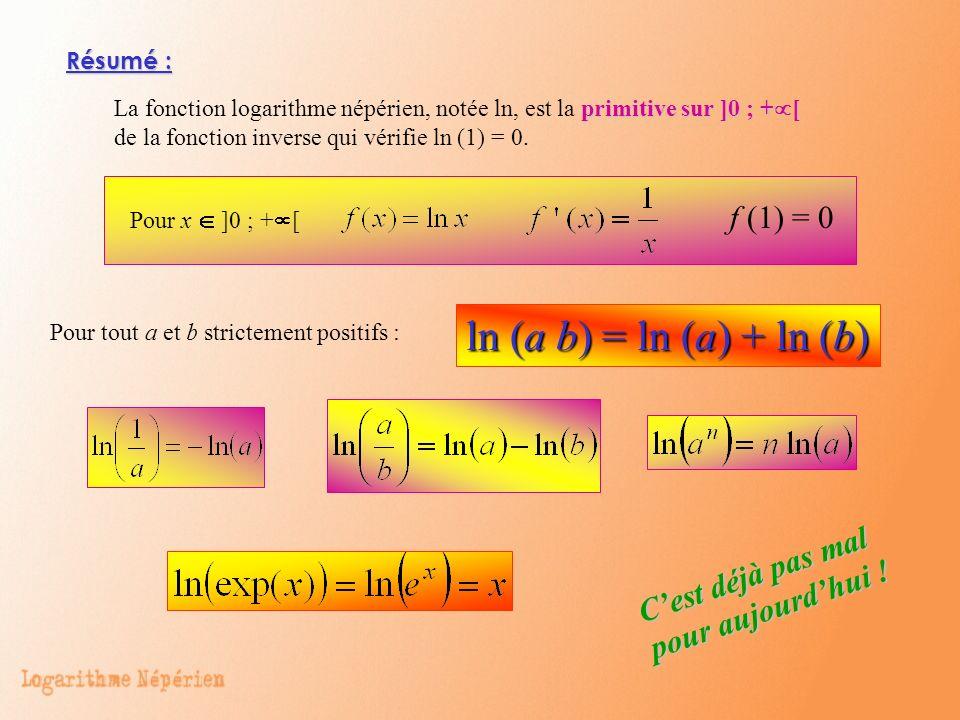 Résumé : La fonction logarithme népérien, notée ln, est la primitive sur ]0 ; + [ de la fonction inverse qui vérifie ln (1) = 0. Pour x ]0 ; + [ f (1)