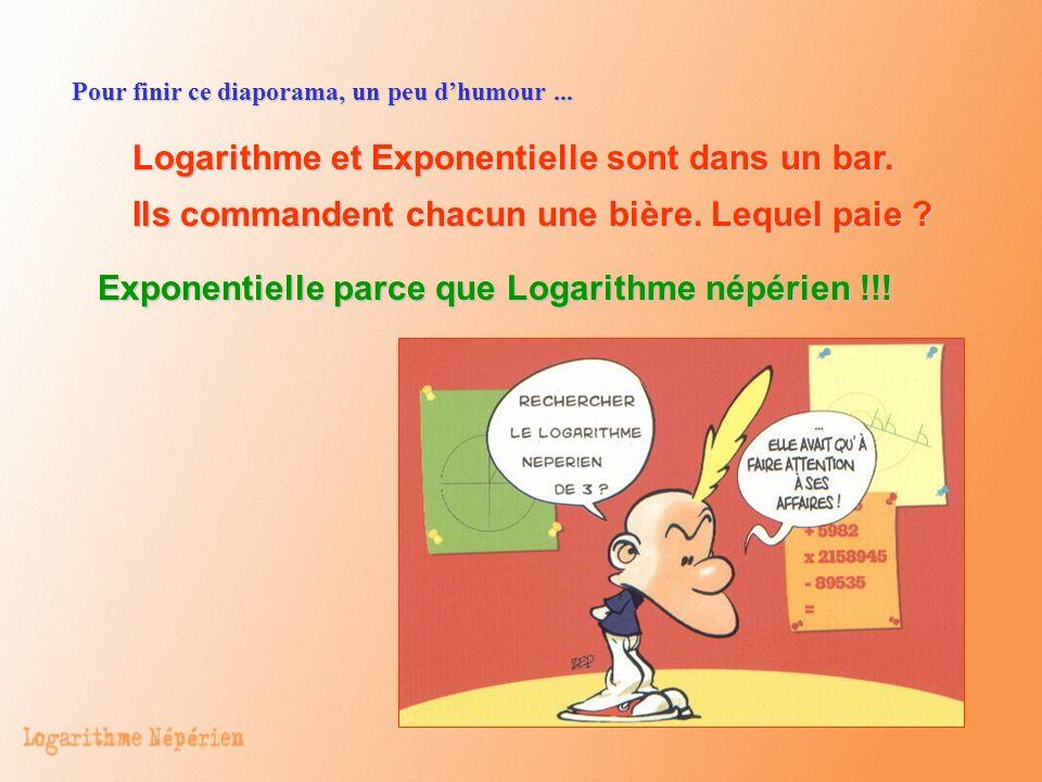 Logarithme et Exponentielle sont dans un bar. Ils commandent chacun une bière. Lequel paie ? Exponentielle parce que Logarithme népérien !!! Pour fini