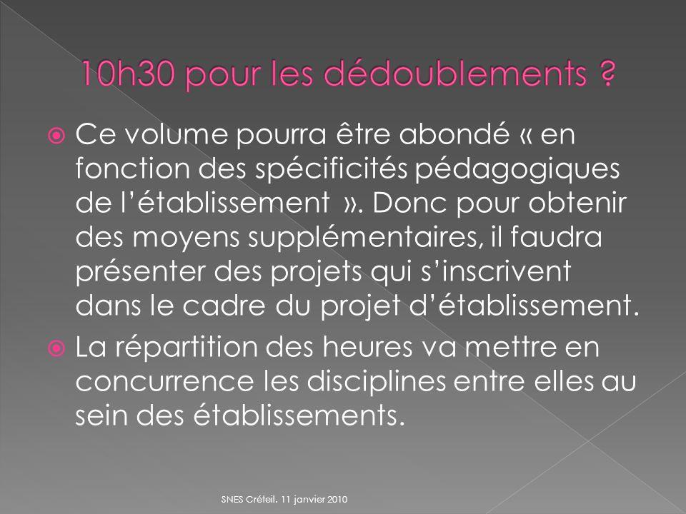 Ce volume pourra être abondé « en fonction des spécificités pédagogiques de létablissement ».