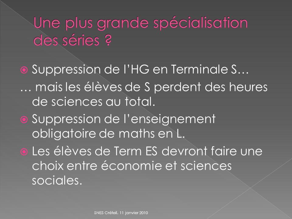 Suppression de lHG en Terminale S… … mais les élèves de S perdent des heures de sciences au total.