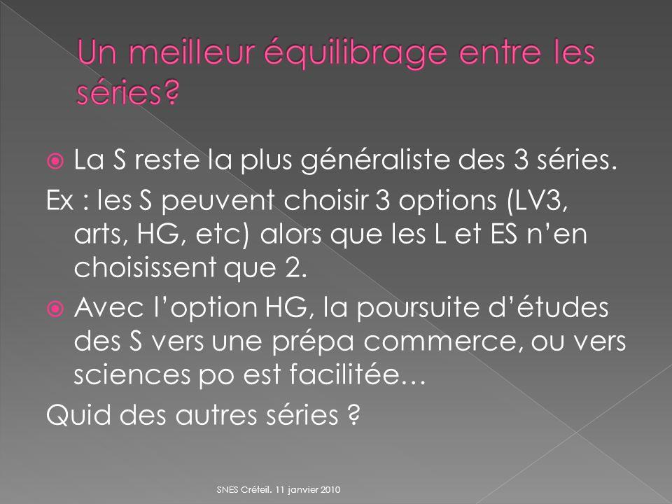 La S reste la plus généraliste des 3 séries. Ex : les S peuvent choisir 3 options (LV3, arts, HG, etc) alors que les L et ES nen choisissent que 2. Av