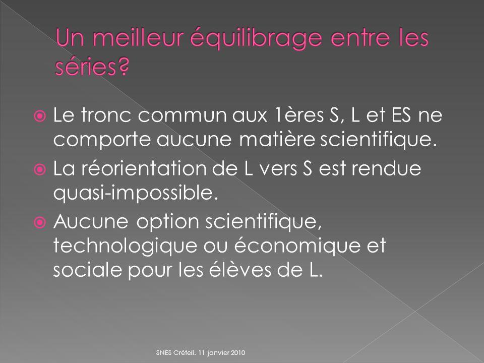 Le tronc commun aux 1ères S, L et ES ne comporte aucune matière scientifique. La réorientation de L vers S est rendue quasi-impossible. Aucune option