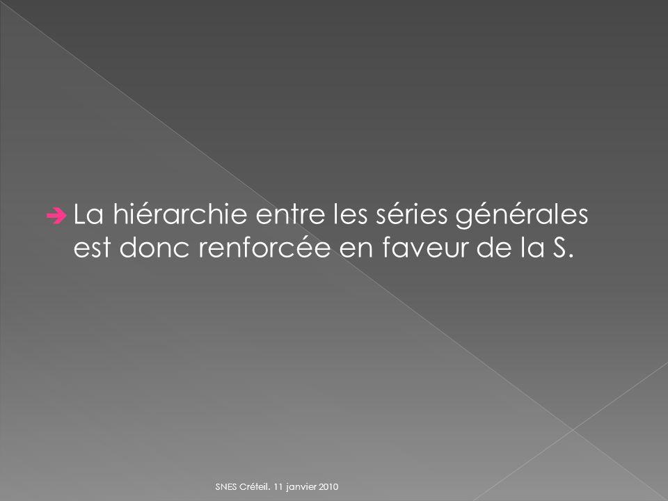 La hiérarchie entre les séries générales est donc renforcée en faveur de la S. SNES Créteil. 11 janvier 2010