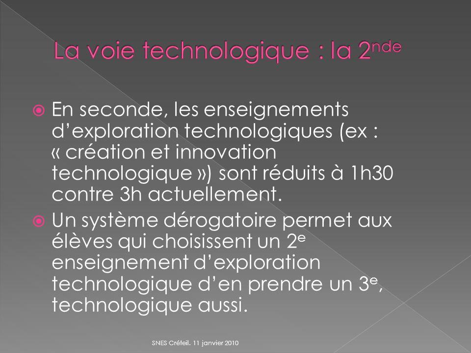En seconde, les enseignements dexploration technologiques (ex : « création et innovation technologique ») sont réduits à 1h30 contre 3h actuellement.