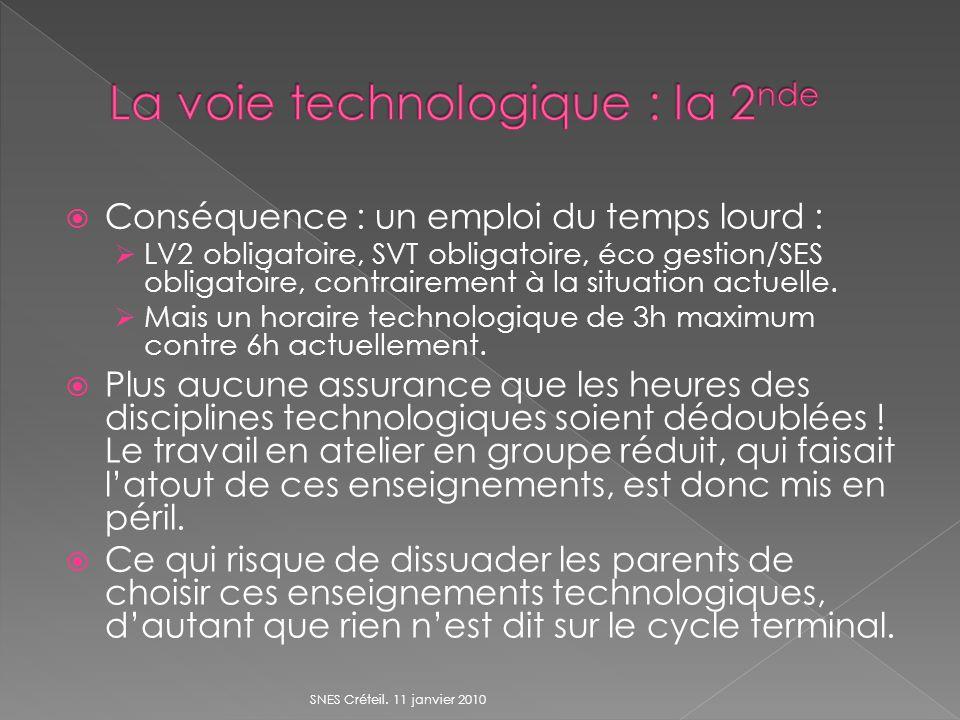 Conséquence : un emploi du temps lourd : LV2 obligatoire, SVT obligatoire, éco gestion/SES obligatoire, contrairement à la situation actuelle.
