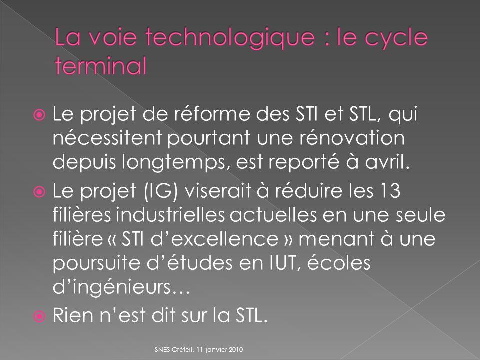 Le projet de réforme des STI et STL, qui nécessitent pourtant une rénovation depuis longtemps, est reporté à avril. Le projet (IG) viserait à réduire
