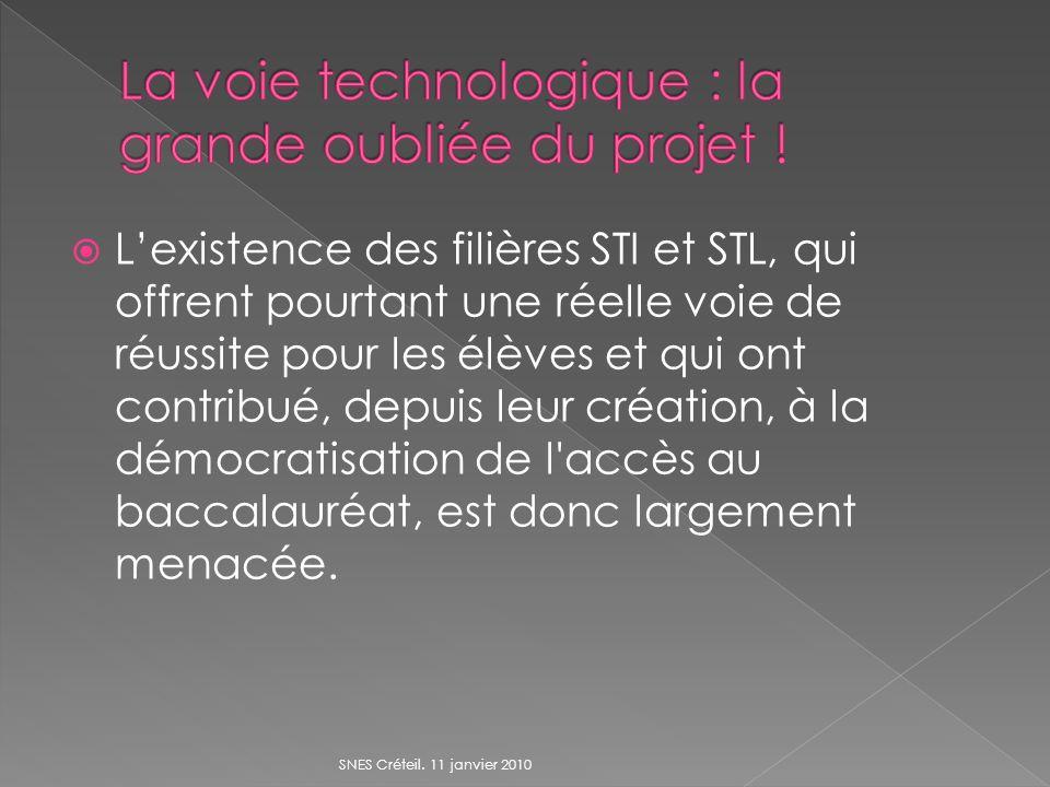 Lexistence des filières STI et STL, qui offrent pourtant une réelle voie de réussite pour les élèves et qui ont contribué, depuis leur création, à la