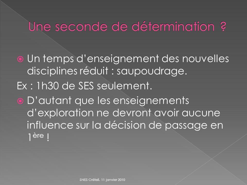 Un temps denseignement des nouvelles disciplines réduit : saupoudrage. Ex : 1h30 de SES seulement. Dautant que les enseignements dexploration ne devro