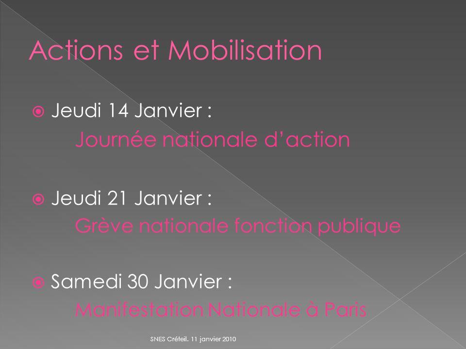 Jeudi 14 Janvier : Journée nationale daction Jeudi 21 Janvier : Grève nationale fonction publique Samedi 30 Janvier : Manifestation Nationale à Paris SNES Créteil.