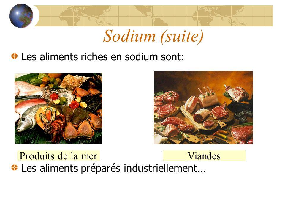 Sodium (suite) Les aliments riches en sodium sont: Les aliments préparés industriellement… Produits de la mer Viandes