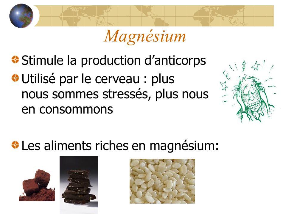 Magnésium Stimule la production danticorps Utilisé par le cerveau : plus nous sommes stressés, plus nous en consommons Les aliments riches en magnésium: