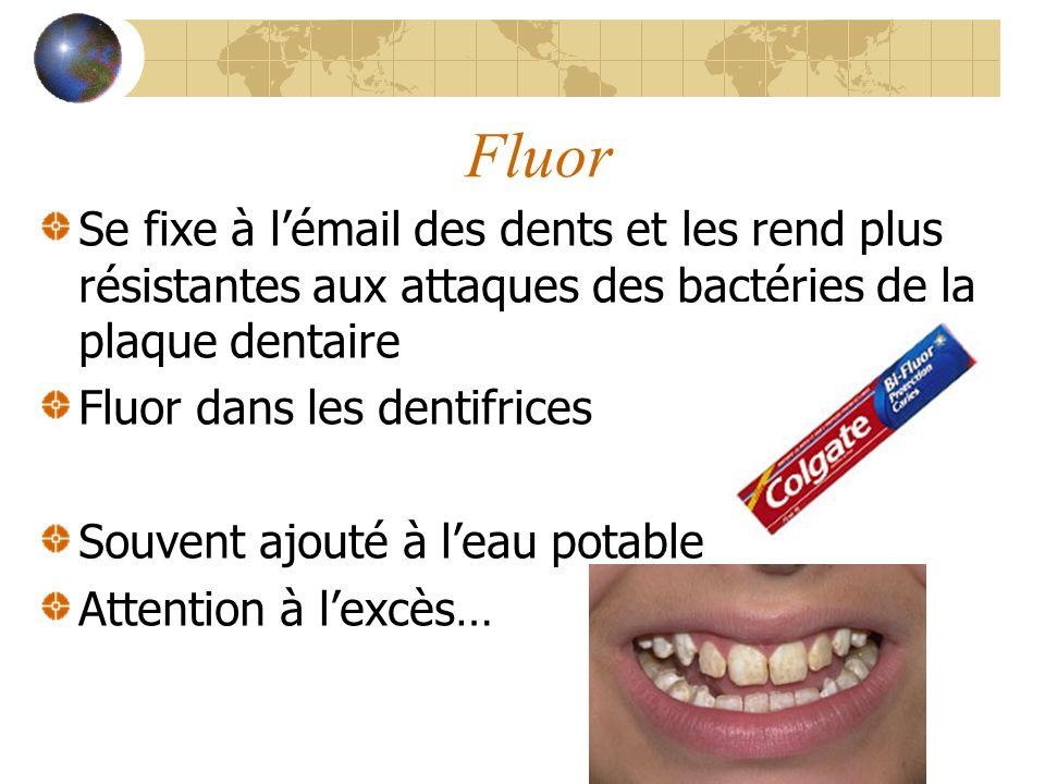 Fluor Se fixe à lémail des dents et les rend plus résistantes aux attaques des bactéries de la plaque dentaire Fluor dans les dentifrices Souvent ajouté à leau potable Attention à lexcès…